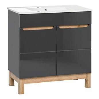 Grafitowa szafka łazienkowa z umywalką - Marsylia 3S grafit połysk 80 cm