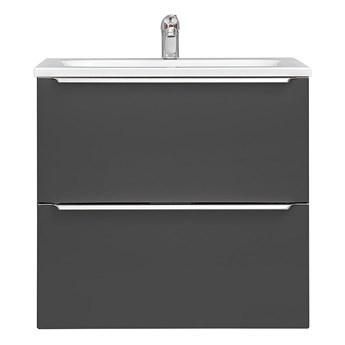 Podwieszana szafka łazienkowa z umywalką - Malta 4S Czarny mat 60 cm