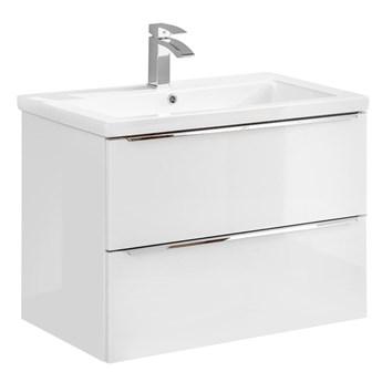 Podwieszana szafka łazienkowa z umywalką - Malta 3S Biały połysk 60 cm