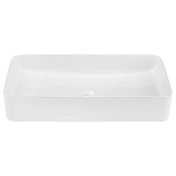 Biała prostokątna ceramiczna umywalka nablatowa - Averto