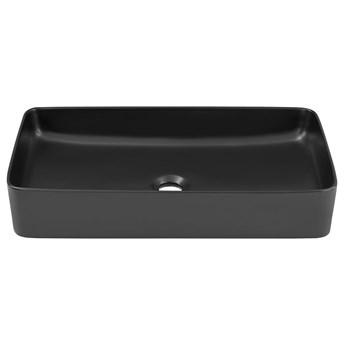 Czarna prostokątna ceramiczna umywalka nablatowa - Averto