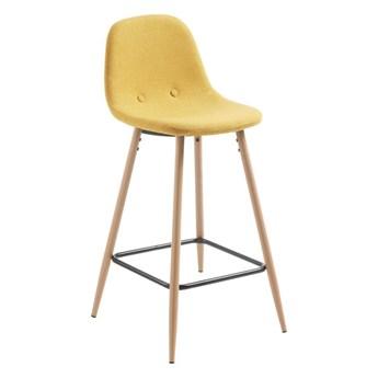 Krzesło barowe / hoker Sane musztardowe wys. 91 cm