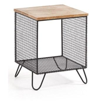 Drewniany stolik nocny Ajax 48x38 cm czarny