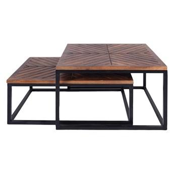 TABLE4U :: Drewniany stolik kawowy/zestaw Hog&Lag Jodła 70x50x30 - kolor bursztyn