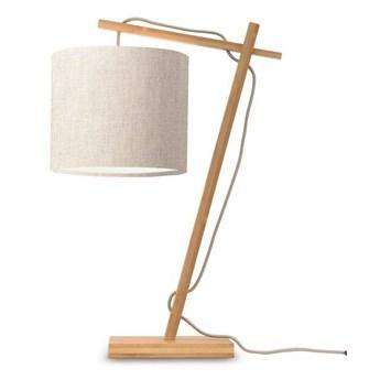 GOOD&MOJO :: Lampa biurkowa Anders jasnoszara / podstawa brązowa wys. 46 cm