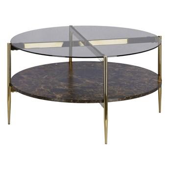Stolik kawowy Titlis brązowy ze złotymi nogami 84x43 cm