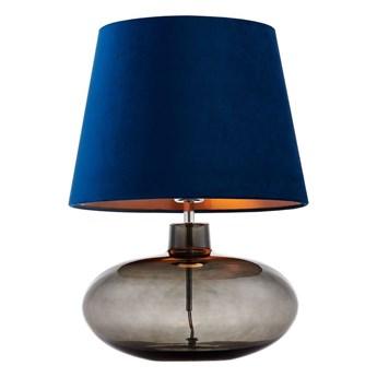 Kaspa :: Lampa stołowa Sawa Velvet niebieska chrom dymny
