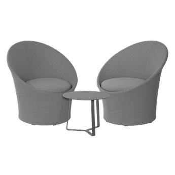Miloo :: Zestaw mebli ogrodowych Lisbon Round szarych / 2 fotele i stolik