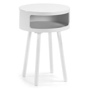 Drewniany stolik nocny Tepic śr.40 cm biały