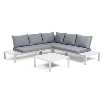 Zestaw mebli ogrodowych Medulo sofa narożna / narożnik szary i stolik