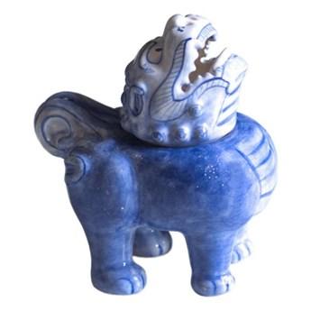 Majolika Nieborów :: Figurka Pies Fo kadzidłowiec (na kadzidła stożkowe) wys. 14 cm