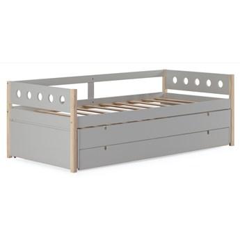 Łóżko rozkładane z pojemnikiem Compte 98x200 cm jasnoszare