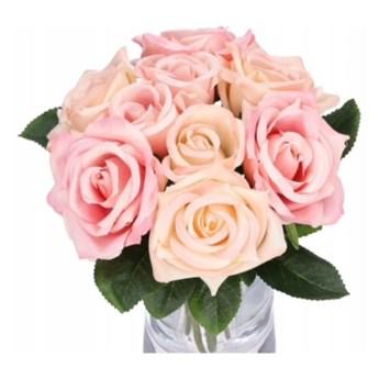 Bukiet sztucznych róż dziewięć kwiatów Matylda wys 27cm