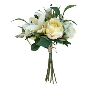 BUKIET12 SZT KREMOWO ŻÓŁTYCH LILI I RÓŻY YELLOW FLOWERS 40CM