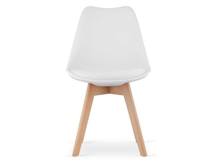 NOWOCZESNE KRZESŁO 53E-7 BIAŁE Tworzywo sztuczne Kategoria Krzesła kuchenne Drewno Głębokość 56 cm Wysokość 84 cm Szerokość 49 cm Kolor Biały