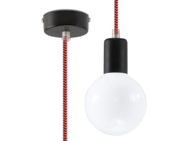 Lampa Wisząca EDISON Czarno-Czerwona Tkanina Stal Metal Kolor Czarny Kolor Czerwony