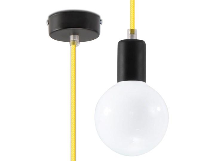 Lampa Wisząca EDISON Żółta Metal Tkanina Kategoria Lampy wiszące Stal Kolor Żółty