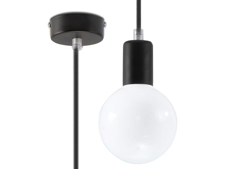 Lampa Wisząca EDISON Czarna Metal Tkanina Kolor Czarny Stal Kategoria Lampy wiszące