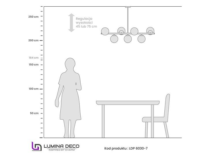 NOWOCZESNA LAMPA WISZĄCA CZARNA FREDICA W7 Metal Lampa z kloszem Szkło Ilość źródeł światła 7 źródeł