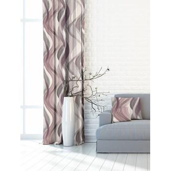 Gotowe zasłony geometryczny wzór FALE w odcieniach różu,fioletu i szarości