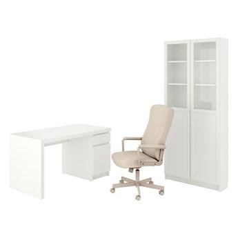 IKEA MALM/MILLBERGET / BILLY/OXBERG Kombinacja biurko/szafka, i krzesło obrotowe biały/beżowy