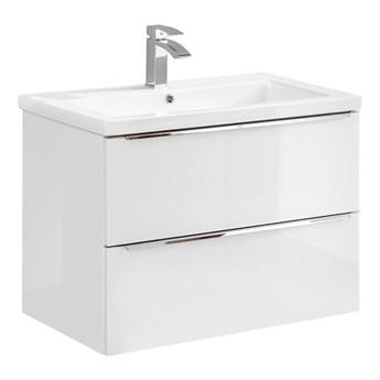 Podwieszana szafka łazienkowa z umywalką - Malta 2S Biały połysk 80 cm