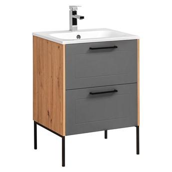 Grafitowa industrialna szafka z umywalką - Saloma 2S 60 cm