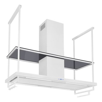 Okap wyspowy Centropolis Premium Glass White Matt 150 cm