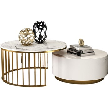 Stolik biało złoty marmur syntetyk /  zestaw COLMA