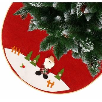 Dywanik pod choinkę 89 cm czerwony z Mikołajem, mata na prezenty