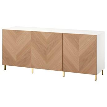 IKEA BESTÅ Kombinacja z drzwiami, Biały/Hedeviken/Ösarp okl dęb, 180x42x74 cm