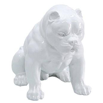 Biała figura pies 51x42x30 cm A259