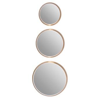 Komplet 3 okrągłych luster w złotej oprawie 12F-361