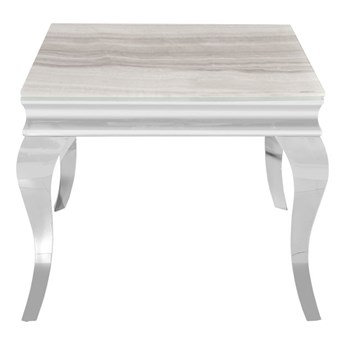 Stolik kawowy z marmurowym białym blatem modern barock 60x60x57 cm CT/D306