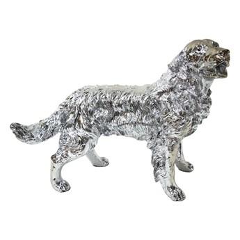 Srebrna figura psa Golden Retriever 54x44x34 cm  A020