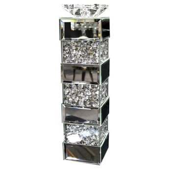 Lustrzany świecznik z kryształkami 10x10x40 cm GD2017