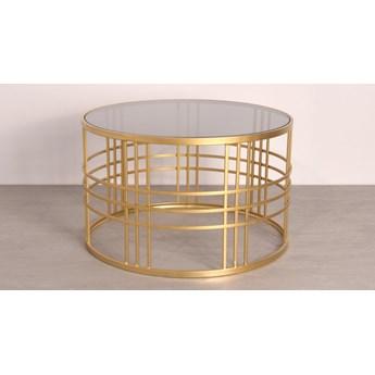 Złoty okrągły stolik dymiony szklany blat Ø66 x41 cm TOY68-6404S