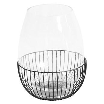 Szklany świecznik w drucianym koszyczku Ø23x30 cm TOYJ19-651