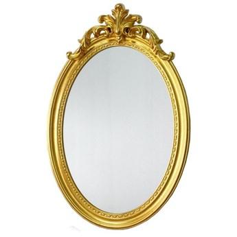 Złote owalne lustro w drewnianej oprawie 75x120 cm 10157