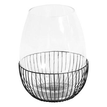 Szklany świecznik w drucianym koszyczku Ø20x25 cm TOYJ19-652