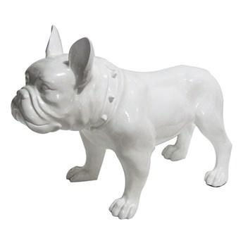 Biała figura buldog 64x54x29 cm A216