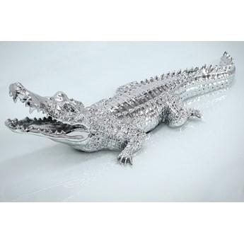 Srebrna figura krokodyl 87x30x22 cm 2053