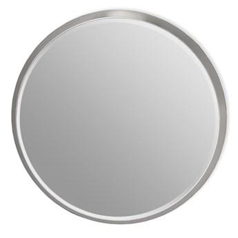 Okrągłe fazowane lustro w srebrnej ramie średnica 100 cm 12F-361