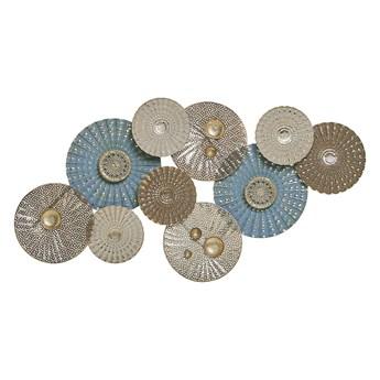 Beliani Dekoracja ścienna niebiesko-beżowa kółka metalowa 90 x 48 cm ozdoba styl nowoczesny