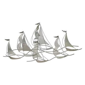 Beliani Dekoracja ścienna srebrna łódki metalowa 132 x 67 cm ozdoba styl nowoczesny