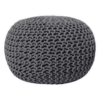 Beliani Puf ciemnoszary bawełniany 50 x 35 cm okrągły pleciony dziergany
