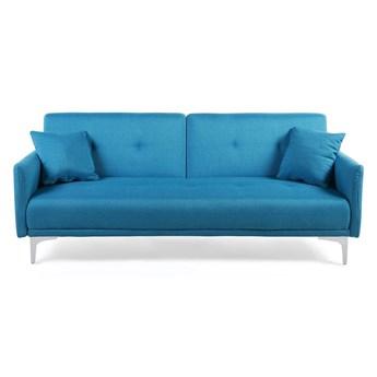 Beliani Sofa rozkładana niebieska tapicerowana pikowana kanapa do salonu pokoju morska z funkcją spania metalowe srebrne nogi