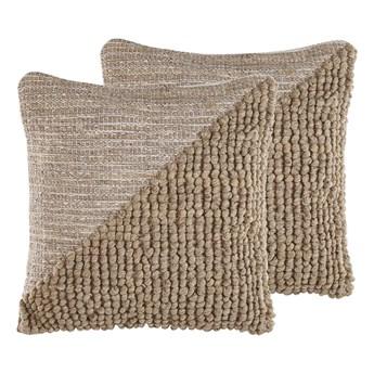Beliani Zestaw 2 poduszek dekoracyjnych beżowy bawełniany 45 x 45 cm zdejmowana poszewka teksturowana z wypełnieniem
