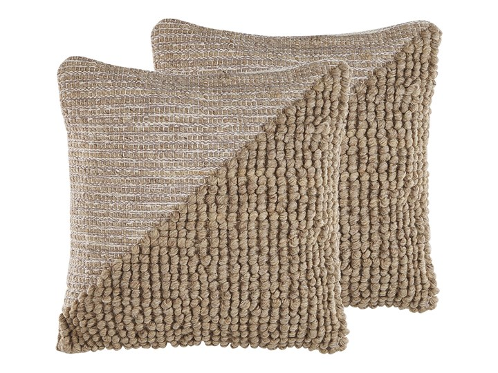 Beliani Zestaw 2 poduszek dekoracyjnych beżowy bawełniany 45 x 45 cm zdejmowana poszewka teksturowana z wypełnieniem Poszewka dekoracyjna Bawełna Kwadratowe 45x45 cm Wełna Wzór Jednolity
