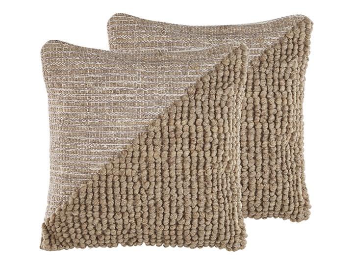 Beliani Zestaw 2 poduszek dekoracyjnych beżowy bawełniany 45 x 45 cm zdejmowana poszewka teksturowan ...